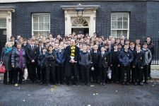 Mr Noble and Year 10 students at No. 10 Downing Street