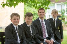 Headteacher Mr Reeve, with Year 7 pupils